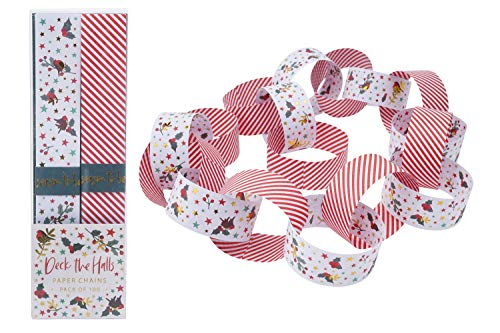 Christmas Decoration Pack of 100 Robin Holly & Mistletoe Print with Gold Detailing | 5 Metre | Self Stick Retro Paper Chains Garland | Christmas Decoration | Home Activity DIY Crafting | GB05485