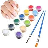 Bluelover 12 Color/Set 3 G Nail Art Bricolaje Pintura Pigmento Acrílico Emulsión Pincel Lápiz Pen Set