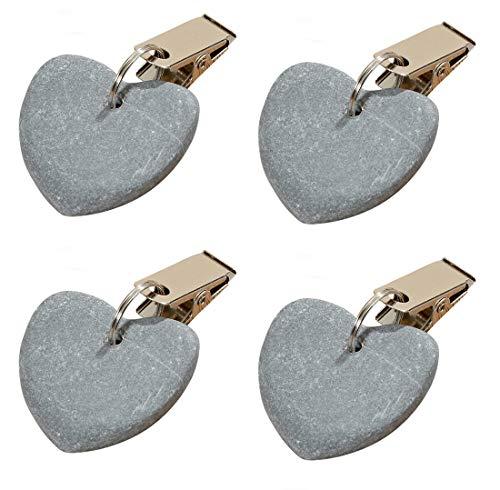 LB H&F Set 4 x Tischtuchgewicht Tischdeckengewichte Tischtuchhalter dunkelgrau Herz