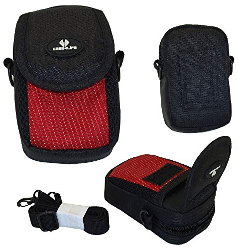 Case4Life Negro/Rojo cámara compacta Funda Bolsa para Nikon Coolpix L, S, A Serie Inc A100, A10, A300, L27, L28, L29, L30, L31, S33, S2900, S3100, S3600, S3700, S5300, S6600, S6700, S6900, S7000