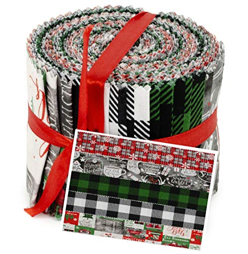 "Christmas Designs Jelly Roll Cotton Fabric 20 Strips 2.5''x 42"" 100% Cotton Fabric 5 Designs"