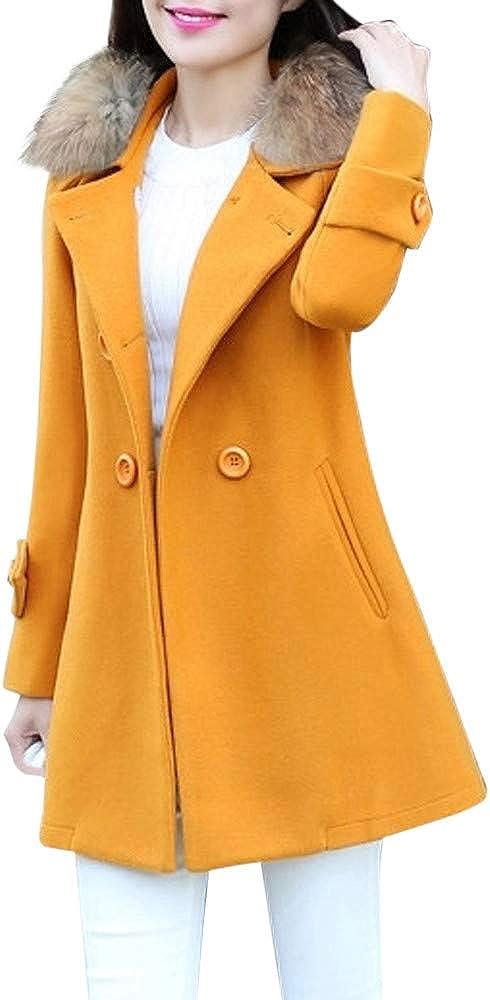 Fur Collar Casual Outwear Womens Warm Jacket Parka Cardigan Slim Coat Overcoat