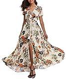 1stvital Women's Floral Maxi Dresses Boho Summer Beach Dress Short Sleeve Button Up Split Party Dress, M