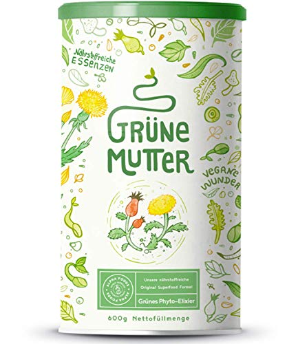 Grüne Mutter - Smoothie Pulver - Das Original Superfood Elixier u.a. mit Weizengras, Brennnessel, Mariendistel, Braunalge, Alfalfa, OPC & weiteren Superfoods - Mit Coenzym Q10 - 600 Gramm