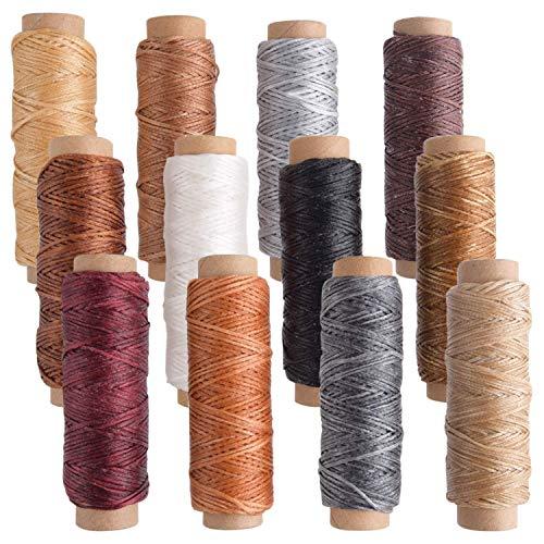 Anjing 21 Piezas de Hilo Encerado de Piel, 8 Colores, Hilo Encerado para Coser de Piel con Herramientas de Mano de Cuero para Manualidades