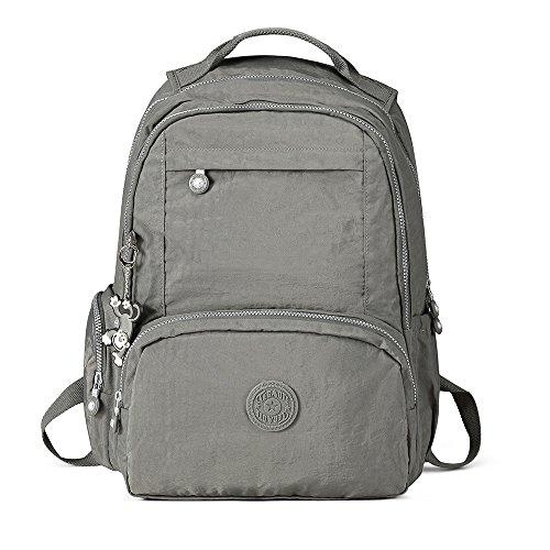 Gurscour Womens Men Lightweight Nylon Backpack SchoolBag Laptop Waterproof Backpack Rucksack Travel Casual Daypack 1322A-Grey
