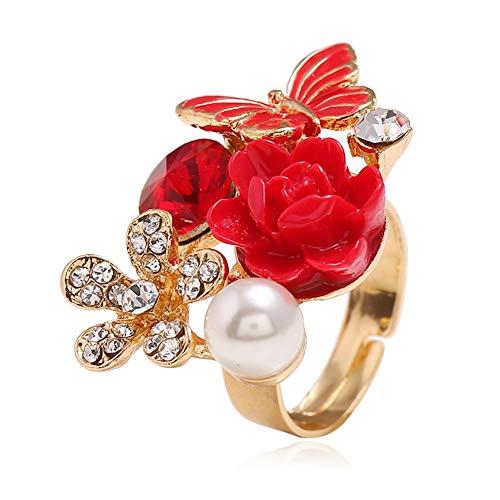 Butterfly Flower Rhinestone Ring Retro Women Pearl Opening Rings (Red)