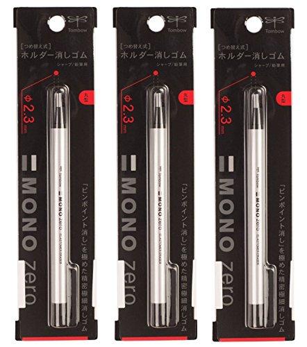 Tombow MONO Zero Eraser, Round 2.3 mm, 1-Pack (3 Pack)