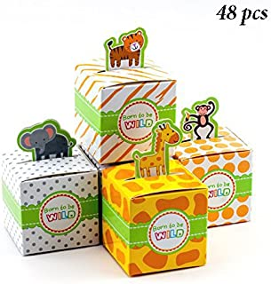 Adorox Small 48 Pcs Born to Be Wild Adorable Jungle Safari Zoo Theme Baby Shower Favor Candy Treat Box Cute Birthday Decoration (Assorted (48 Pieces))