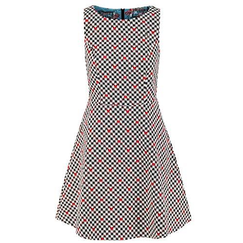 Blutsgeschwister Damen Kleid etui de la Elodie Robe Classic chic schwarz/Weiss/rot - XS