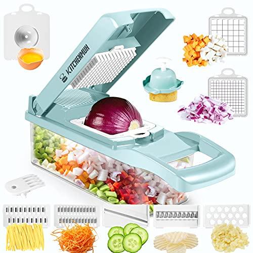 Mandoline Slicer, Vegetable Chopper, Pro Food Chopper Vegetable Cutter and Dicers, Onion Chopper with Container, Vegetable Slicer and Chopper for Kitchen - 7 Blades