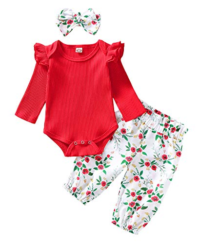 WonderBabe Newborn baby girl clothes suit one-piece trousers jumpsuit tights long-sleeved ruffled jumpsuit + floral bow trousers + headscarf Vermelho-90