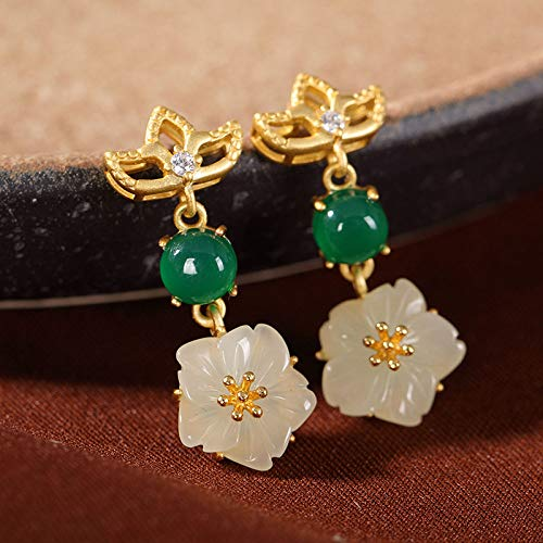 Women'S For Drop Earrings, S925 Silver Gilded Lotus Natural Hetian Jade Plum Blossom Dangle Stud Earrings For Women And Girls Handmade Unique Creative Luxury Women'S Jewelry Gift