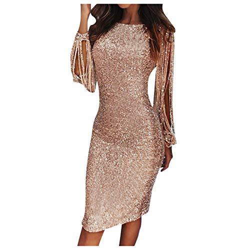 KI-8jcuD Dam långärmad klänning festlig glitter klänning paljetter långärmad O-hals sexig nattklubb klänning festklänningar cocktailklänning