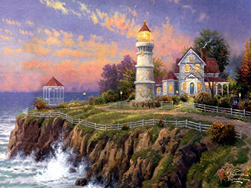 Diamond Painting Kinkade Lighthouse  Landscape 12X16 inches 5D DIY Diamond Painting Full Round Drill Rhinestone Embroidery for Wall Decoration