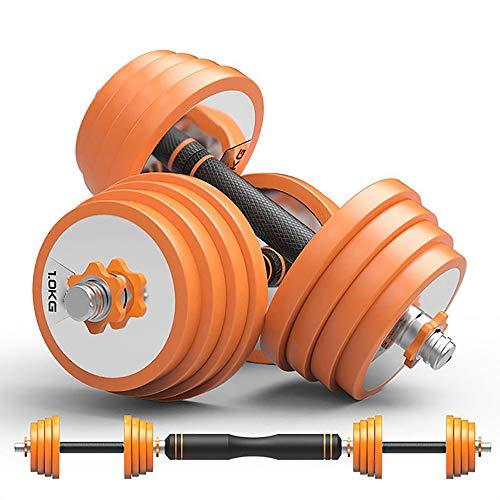 バーベルにもなる ダンベル 5kg 7.5kg 10kg 2個セット (10Kg 15Kg 20Kg) ラバーリング付 ゆるまない標準装備 フィットネス