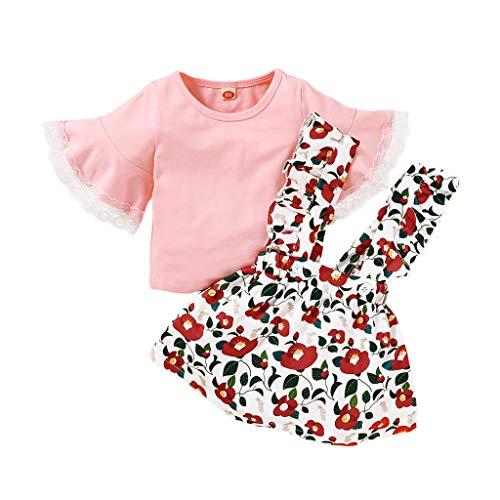 sunnymi Bekleidungssets für Baby Mädchen,1-5 Jahre Kleinkind Baby Mädchen Kleidung Outfits Set Halfter Crop Tops Blumendruck Shorts