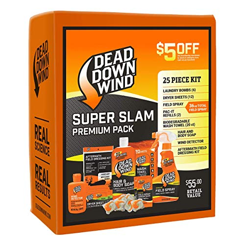 Dead Down Wind Hunting Scent Eliminators   25 Piece Kit   Complete Odor Eliminator System for Hunting Accessories   Field Spray, Wind Detector, Laundry Detergent   Super Slam Premium Value Pack