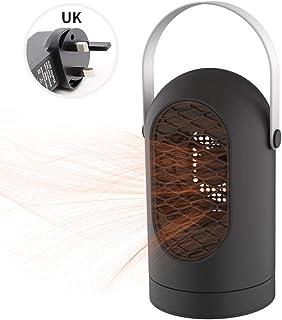 RENXR Calentador De Ventilador, Estufa Eléctrica Portátil con Manija, Protección contra Sobrecalentamiento, Ventilador De Mesa Calefactor para Hogar De Oficina,Negro