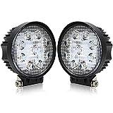 BraveWAY LEDワークライト 丸型 車外灯 農業機械 27w 6000k 12v-24v対応 カバー薄いLED照明