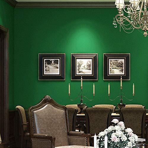 Verde Papel Pintado Pared 3D Color Sólido Tela No Tejida Dormitorio Decoración Salon Pared De Fondo Cocina Cabecera Hotel Tienda De Ropa Sin Pegamento 0.53 * 9.5 M
