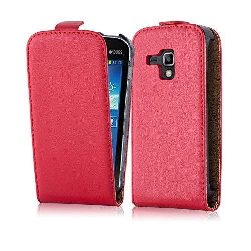 Cadorabo Samsung Galaxy Trend Plus Custodia di Finta-Pelle Flip LUSCIO in Rosso Chili – Protezione in Stile Flip di Similpelle Fine – Portafoglio Cover Case Wallet Book Etui Protezione