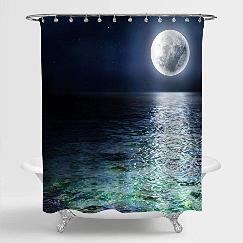 DINGQING Big Moon and Stars in The Ocean Shower Curtain Pattern Bathroom Decoration Private Shower Curtain Waterproof Coating Polyester Fabric Bathroom Shower Curtain 72x72 inch with Hook