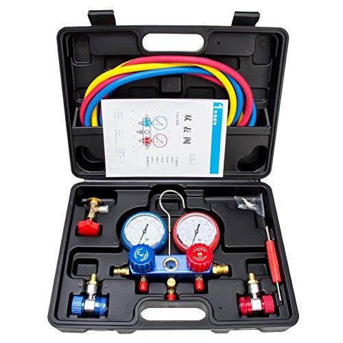 Pindex R134a Kältemittel-Verteiler-Messgeräteset: A/C Diagnosekrümmer Freon Messgerät Set Klimaanlagen Werkzeuge für R22 R410a R404a Schwarz