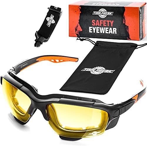 ToolFreak Spoggles Schutzbrille für Arbeit und Sport HD gelbe Linse, Blendung, UV- und Aufprallschutz, Blaulichtfilter, Schaumstoff gepolstert, EN166-zertifiziert, Stirnband und Beutel