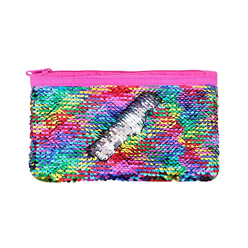 Cute Kids Pencil Case Glitter Reversible Sequin Pen Pencil Pouch for Girls Cosmetic Makeup Organizer Bag Purse for Women (Rainbow)