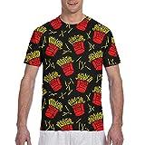 T-shirt unisex a maniche corte con motivo patatine fritte multicolore XL