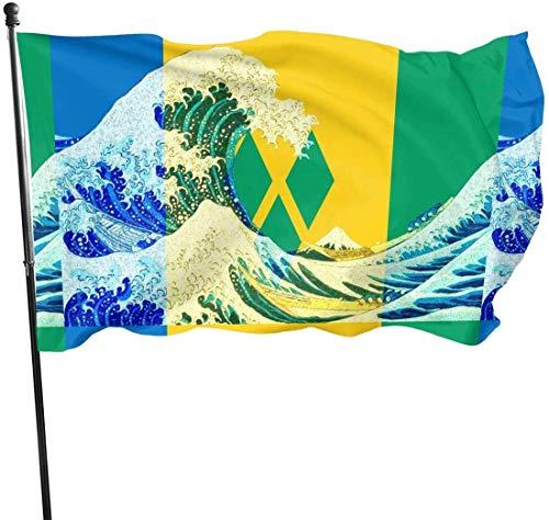 Bandera de San Vicente y Las Granadinas, para Exteriores, 3 x 5 pies, Bandera de Estados Unidos, poliéster Resistente a la decoloración, Vallas Decorativas, jardín, Patio, césped, etc.