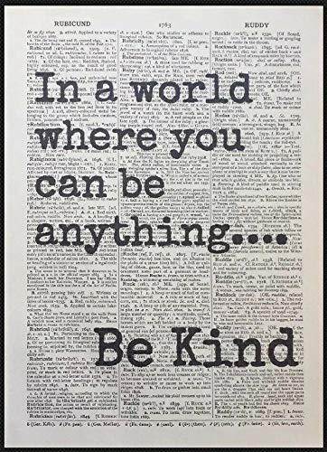 Parksmoonprints - Stampa artistica da parete con citazione 'Be Kind Cittionary Dizionari', scritta 'Love Inspirational Friendship'