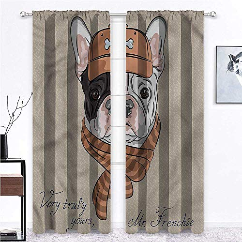 GugeABC Farmhouse Curtains Vintage for Kitchen Cafe Decor French Bulldog Animal Humor 55 x 45 Inch (2 Panels)