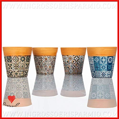 Ingrosso e Risparmio Cuorematto - 4 tarros para plantas de cerámica coloreada con cerezas y borde de madera, detalles originales, solidarios, para boda
