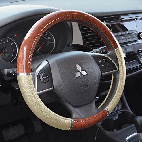 BDK Beige/Tan/Dark Wood Style Comfort Grip Leather Steering Wheel Cover Universal Fit for Cars, Sedans, SUVs, Trucks (14.5-15.5') (SW-238-BG)