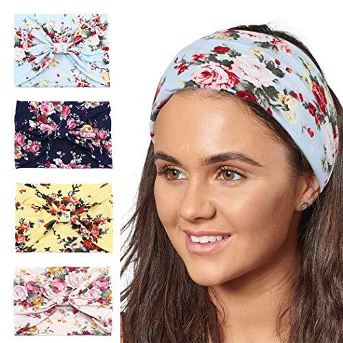 Sethexy Breit Boho Verknotet Stirnband Yoga Elastisch Kreuz und quer Stirnband Elastisch Kopfwickel 4 Stück Sport Kopfbedeckung Kopftuch Laufen Stirnband für Frauen und Mädchen