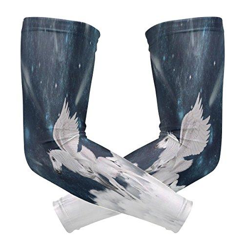 ZZKKO Pegasus Koeling Arm Mouwen Cover Uv Zonnebescherming voor Mannen Vrouwen Hardlopen Golf Wielerarm Warmer Mouwen 1 Paar