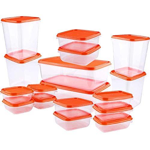 AMAYGA Boîte Alimentaire,Set de boîte de Conservation Alimentaire,Conteneur Alimentaire Plastique avec couvercles hermétiques Lot de 17,Congélateur,rectangulaire Boîte de Conservation avec couvercles
