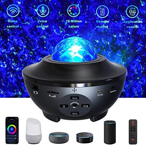 Proyector Smart Star, WiFi Galaxy Proyector de luz nocturna Nebulosa compatible con Alexa Altavoz Bluetooth, Proyector de música con control de voz APP