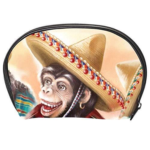 TIZORAX Kosmetiktasche Affe im mexikanischen Kleid Gitarre spielen Kosmetiktasche Reise Handy Organizer Tasche Make-up-Tasche Geldbörse für Frauen Mädchen