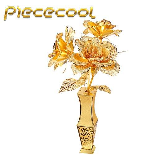 Piececool Lover Gift Golden Rose P050-G Model Building DIY 3D Laser Cut Metal Puzzle Toys