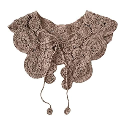 angelle Vintage Crochet Knit Chal Abrigo Bufanda Patrón de círculo Color sólido Decorativo Cuello de imitación Cuello con Cordones Mini Chaqueta con Cordones Mini Chaqueta Poncho