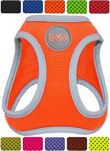DDOXX Brustgeschirr Air Mesh, Step-In, reflektierend, verstellbar, gepolstert | viele Farben & Größen | für kleine & mittlere Hunde | Hunde-Geschirr Hund Katze Welpe | Katzen-Geschirr | Orange, XS