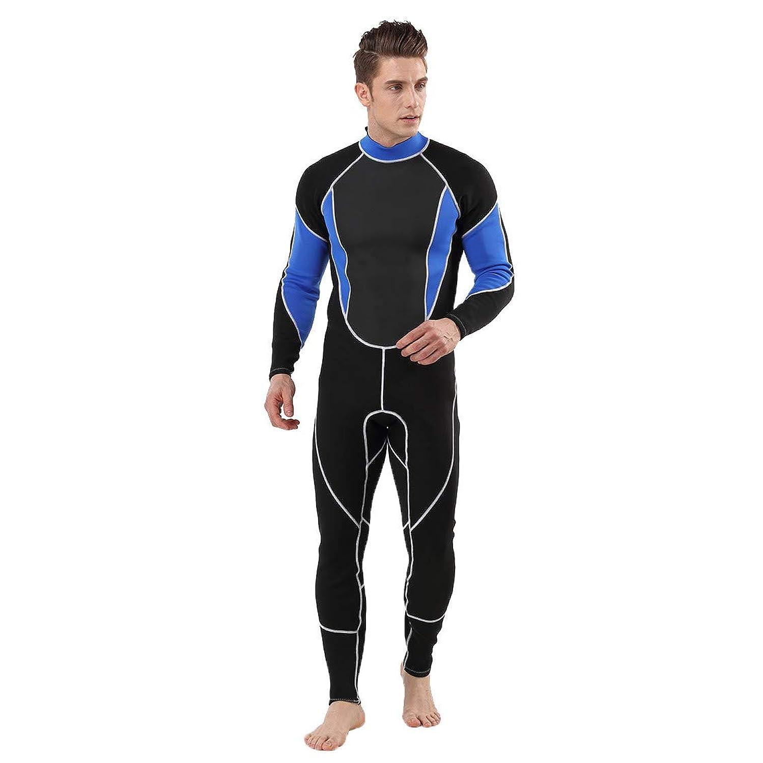 従来の本土と組むLazayyii ウェットスーツ 3mm メンズ フルスーツ ダイビングスーツ 素潜り フルスーツ バックジッパー仕様 手足首ジップ付き マリンスポーツ 保温性 (XL, ブルー)