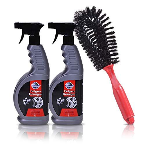 GERCAR 3-teiliges Reinigungsset für Autofelgen, Autoreifen und Radkappen – 2X Felgenreiniger mit je 650 ml und gratis Felgenbürste, Reinigungsmittel mit Bürste für Felgen (2x650ml)
