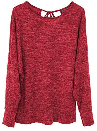 Emma & Giovanni - Pullover Oversize Mit Knoten zurück (Made In Italy) - Damen (# Rot, S-M)
