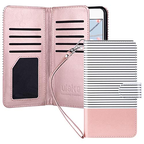 ULAK iPhone 8 Plus Wallet Case, iPhone 7 Plus Case with Card Holder, Premium PU Leather Flip Cover with Kickstand Magnetic Closure Shockproof Case for iPhone 7 Plus/8 Plus, Rose Gold/Minimal