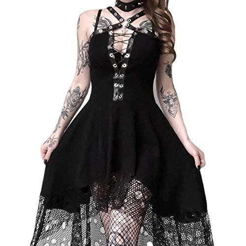 Fnho Disfraces Medievales Princesa Reina,Disfraz Medieval de Mujer Vestido,Vestido de Tirantes de Encaje, Sexy Vestido Delgado-Negro_3XL