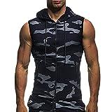 Camisetas de Tirantes Hombre,Verano Moda Hombre Diario Deporte Gym Camiseta sin Mangas con Capucha Fitness Camuflaje Top Slim Fit Casual T-Shirt Camisas Camiseta vpass